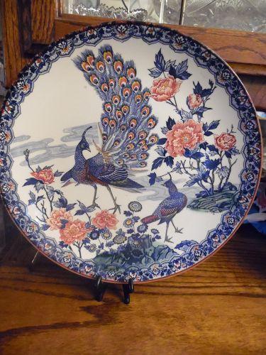 Asahi Peacock Plate Vintage Japanese