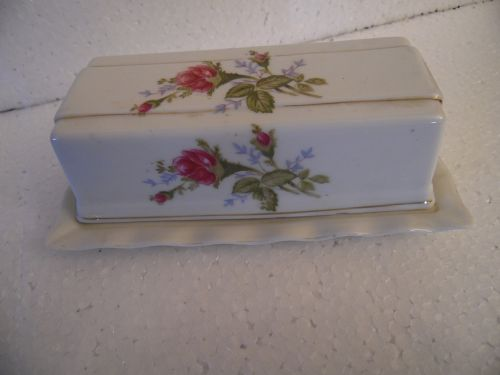 Vintage Royal Sealy Moss Rose butter dish