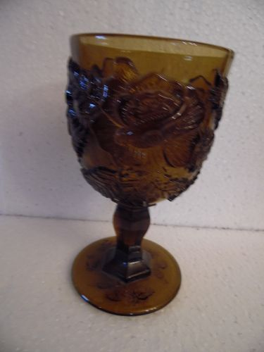 Fenton L.G. Wright Madonna Inn Wild Rose brown goblet