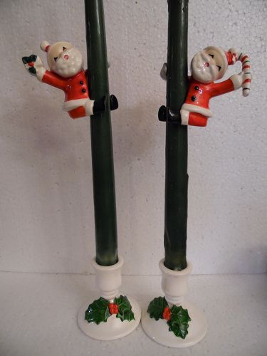 Napco Santa candle climbers with candle holders 1957
