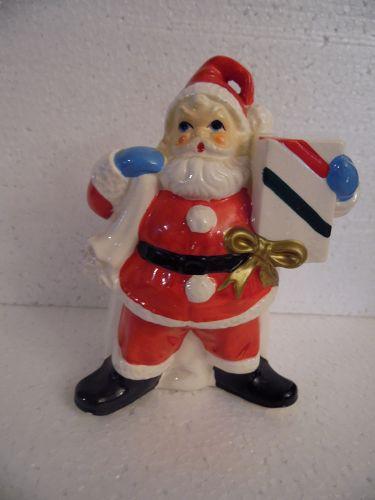 Vintage Santa and bag ceramic hand painted planter figurine