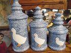 N S Gustin blue stipple duck canister set