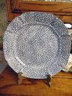 "N S Gustin blue stipple 11 3/8"" dinner plate  blue sponge style"