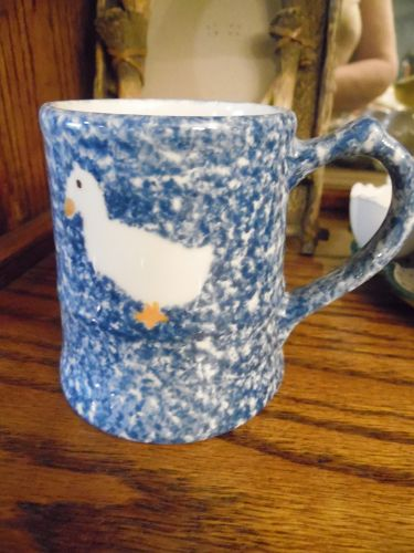 "Blue Stipple by Los Angeles  N. S. Gustin Co MUG 3 3/4"" sponge duck"