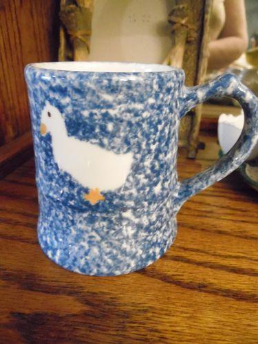 "Blue Stipple by Los Angeles  N. S. Gustin Co MUG 3 3/4"" sponge duck"