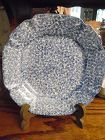 "N S Gustin Los Angeles Pottery Blue Stippled 8 1/2"" salad plate"