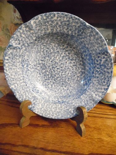 N S Gustin Los Angeles Blue stipple 8.25 rimmed soup bowl