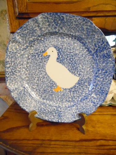 Los Angeles N S Gustin blue stipple dinner plate white duck center