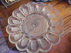 Vintage Indiana Glass clear hobnail beaded dewdrop deviled egg plate