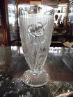 Jeanette clear Iris and Herringbone footed tumbler iced tea glass