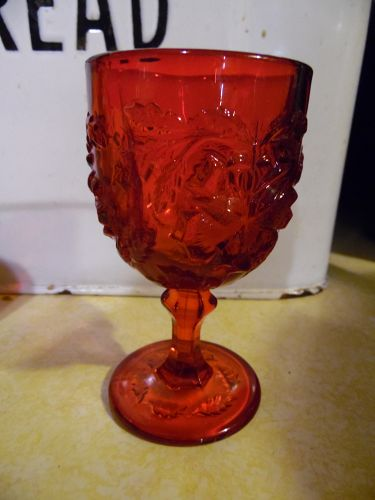 "Fenton  LG Wright Ruby Red 5"" roses goblet Madonna Inn"