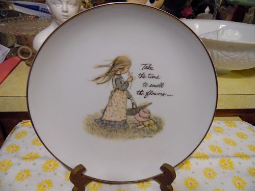 Holly Hobbie Collectors ed plate Take the time to smell the flowers