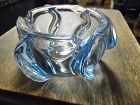 Parker heavy blue art deco glass ashtray, Made in England