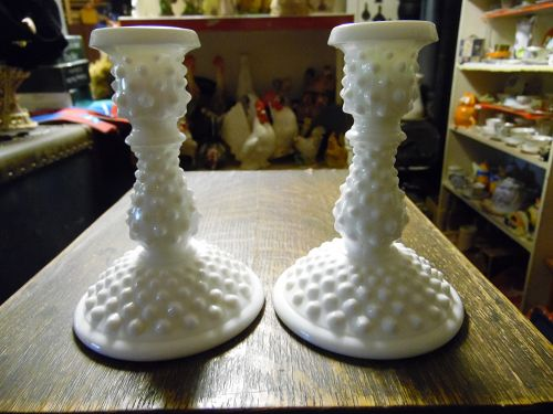 Fenton milkglass hobnail candle sticks pair 6""