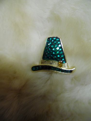 Beatrix sparkly green rhinestone leprechaun hat pin