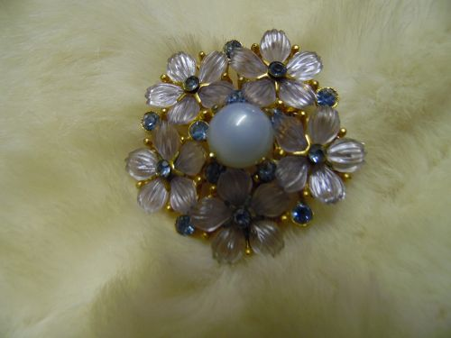 Vintage lucite flower pin