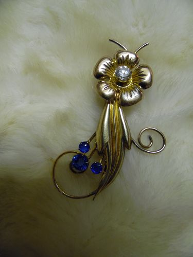 Vintage deco I Michelson 1/20th gf flower pin with rhinestones