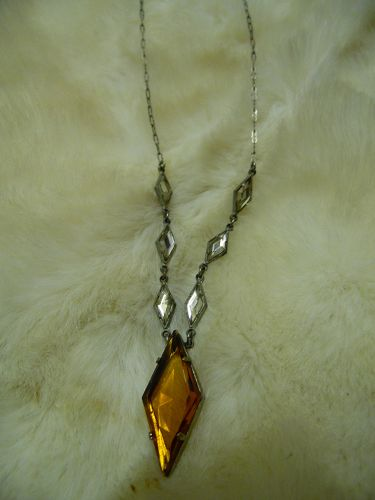 Vintage Victorian style Amber glass pendant