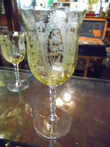 TIffin La Fleure Mandarin Water goblet with RARE stem 15063