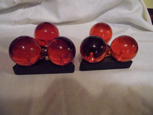 Vintage lucite resin amber balls candle stick holder pair