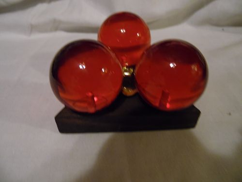 Vintage lucite resin amber ball candle stick holder