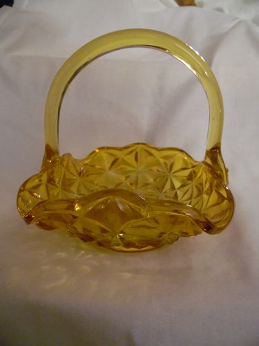 Indiana  Monticello honey amber yellow glass basket