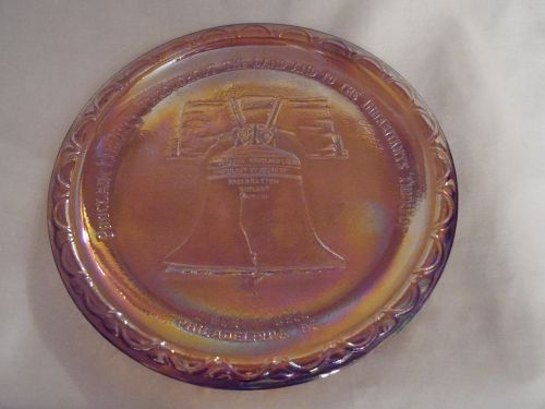 Indiana carnival Glass Liberty Bell Philadelphia commemorative plate