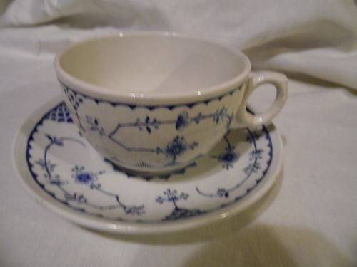 Furnivals Denmark Blue 2 5/8 breakfast cup and saucer Made in England