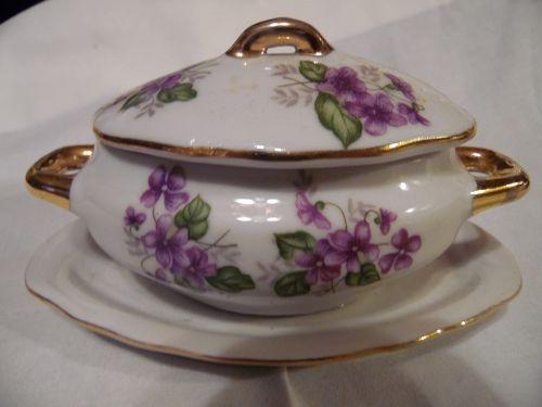 Vintage Japan childs oval tureen or jelly server violets decoration