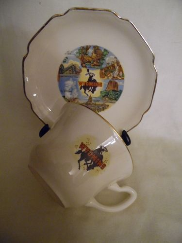 Vintage 50's Wyoming souvenir cup and saucer USA