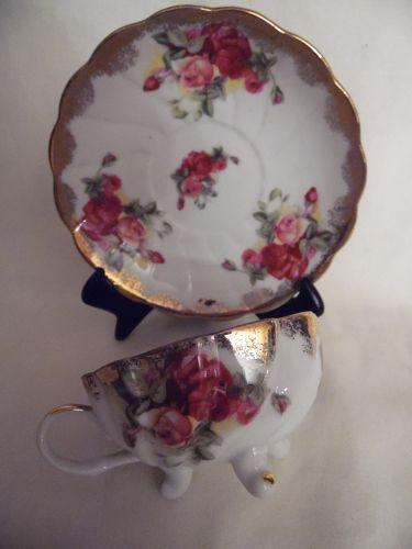 Vintage Marco Roses demitasse teacup and saucer set three feet