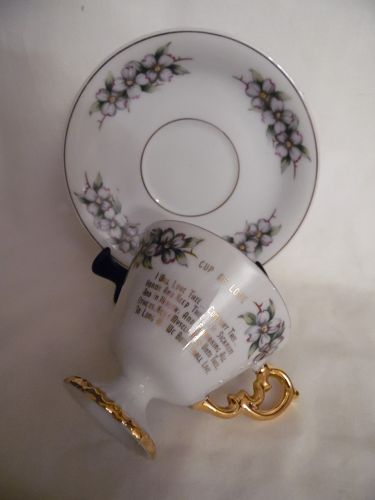 Wedding Vows vintage teacup and saucer set Cup of Love