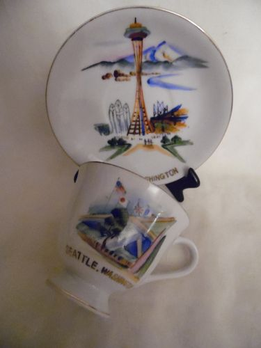Vintage Seattle Hand painted souvenir cup and saucer
