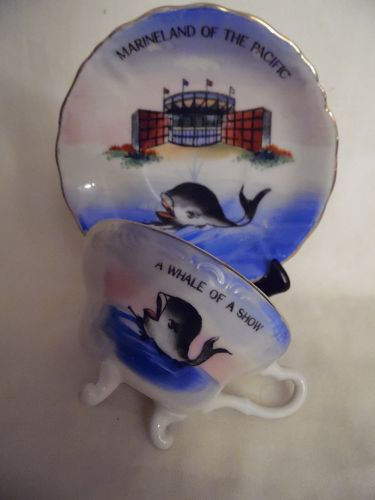 VINTAGE MARINELAND OF THE PACIFIC  TEA CUP & SAUCER HAND PAINTED