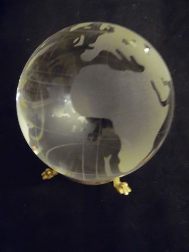 World globe crystal with frost glass paperweight with brass stand