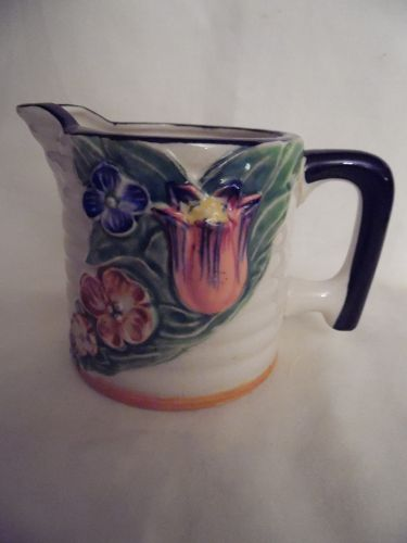 Vintage Creamer Tan/Black Rim Floral Tulip Made In Japan