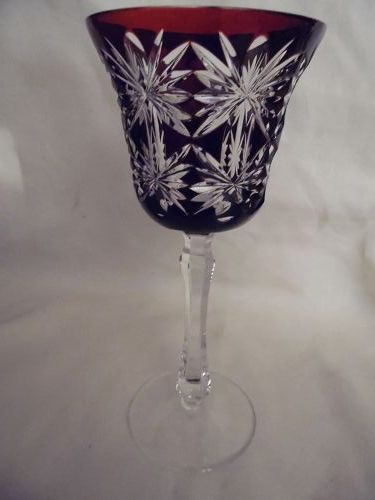 Kusaks Cut Glass Works Butterfly Ruby cut to clear crystal goblet
