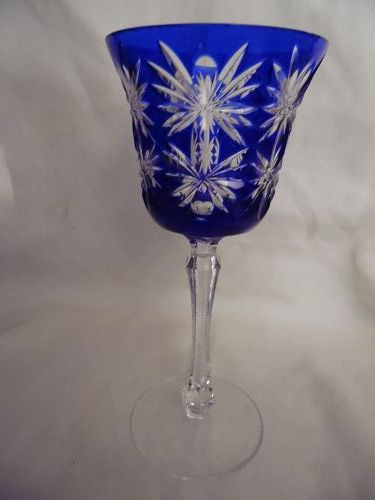Kusaks Cut Glass Works Butterfly Cobalt cut to clear crystal goblet