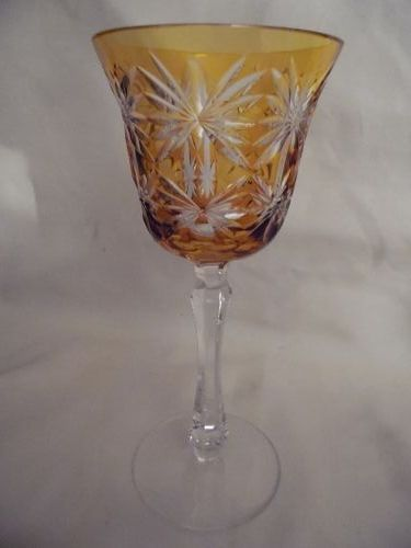 Kusaks Cut Glass Works Butterfly amber cut to clear crystal goblet