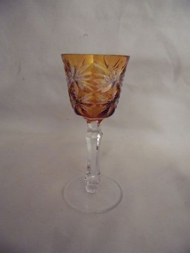 Kusaks Cut Glass Works Butterfly amber cut to clear crystal cordial
