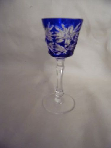 Kusaks Cut Glass Works Butterfly Cobalt cut to clear crystal cordial