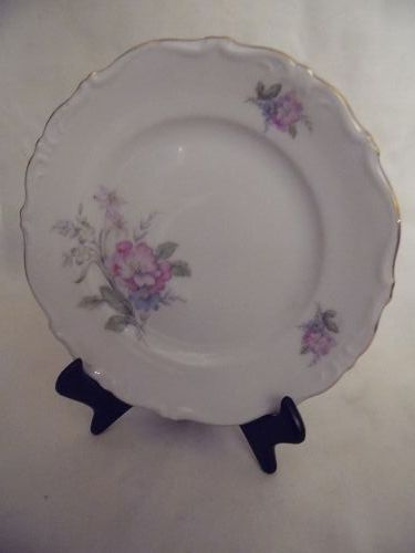 Bavaria West Germany fine china bread plate floral with gold trim 6""