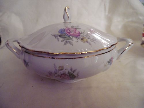 Bavaria West Germany fine china covered casserole floral gold trim 6""