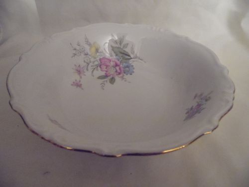 Bavaria West Germany fine china serving bowl floral gold trim  9.5""