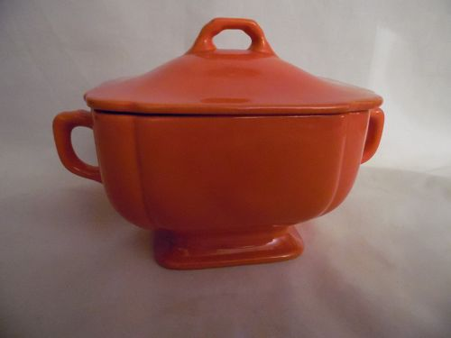 Homer Laughlin Riviera red orange sugar bowl with lid
