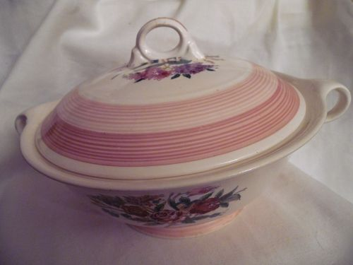 VIntage candlelight Limoges Regis Rose covered vegetable serving dish