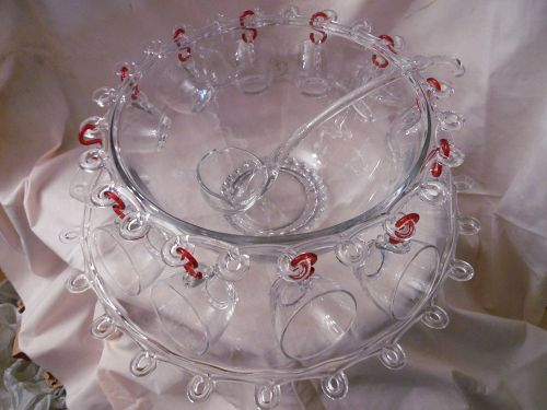 Heisey Lariat complete punch bowl set with under plate