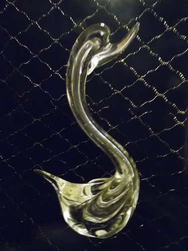 Murano hand blown clear crystal swan 11""