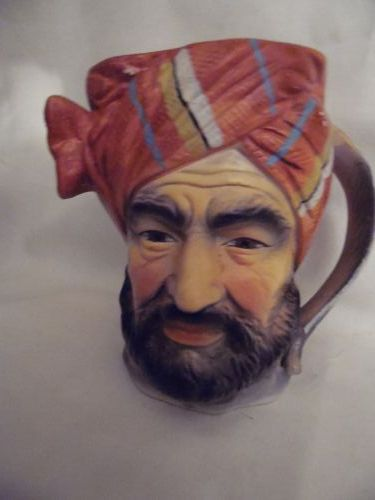 Tilso Japan Hand painted Mug Mid eastern Man Face Feather Handle