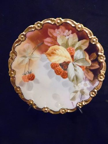 Stouffer Studios Limoges rasberries cabinet plate signed Wenzel Pfohl